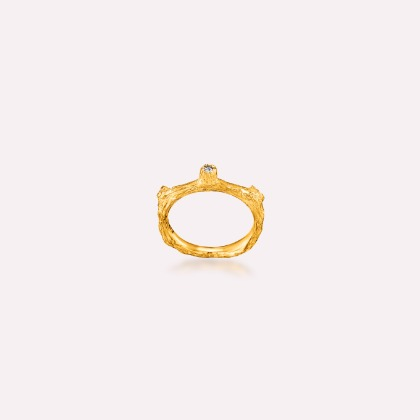 Silver 18k gold fill Nature-5 ring