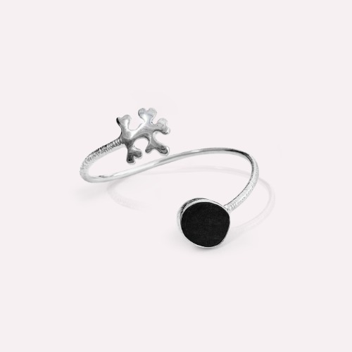 Silver 18k gold fill Onyx .Happy man cuff