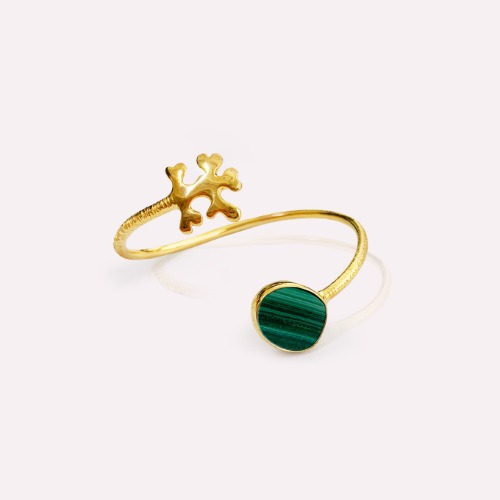 Silver 18k gold fill Malachite Happy man cuff